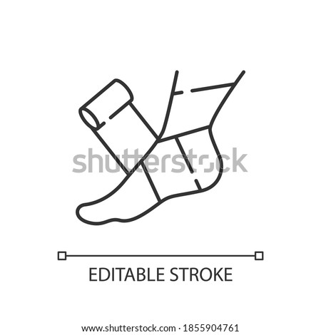 Elastic bandage linear icon. Suffer from injury. Hurt foot. Join trauma treatment. Thin line customizable illustration. Contour symbol. Vector isolated outline drawing. Editable stroke Stock photo ©