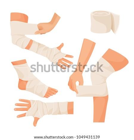 Elastic bandage on injured human body parts set Stock photo ©