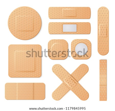 Elastic medical plasters. Adhesive bandage, called a sticking plaster collection. Vector flat style cartoon plasters illustration isolated on white background