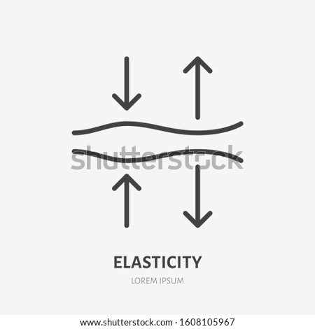 Elasticity line icon, vector pictogram of elastic material. Skincare illustration, anti wrinkle, facelift sign for cosmetics packaging.