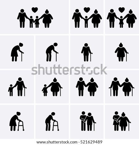 Elder and Family Icons set. Old people Icons. Senior people Icons. Vector family collection