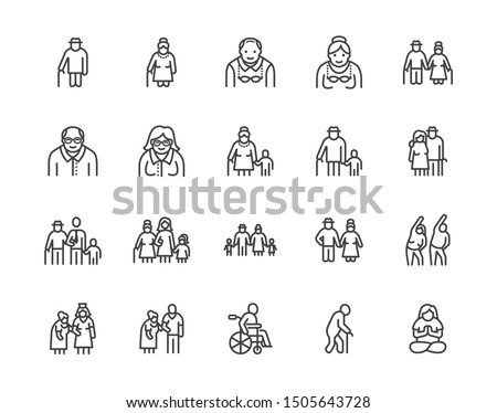 Elder people care flat line icons set. Senior couple, nursing home, happy old man exercising, patient support vector illustrations. Outline signs older citizens. Pixel perfect. Editable Strokes.