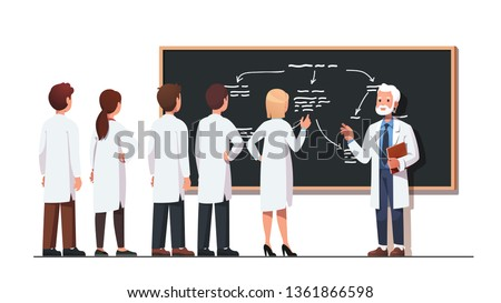 Elder science professor explaining diagram on class blackboard to intern students group wearing lab coats. Scientist team talking to academic solving scientific problem. Flat vector illustration