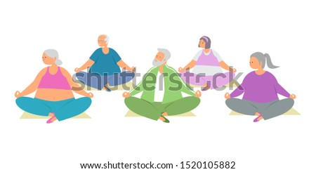 Elderly care and fitness flat vector illustration. Elderly woman and elderly man do yoga fitness sports or exercise. Healthy lifestyle of old people. Senior men and women have fun together.