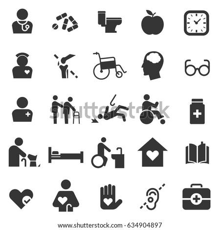 elderly care icon set flat