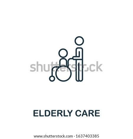 Elderly Care icon. Simple line element Elderly Care symbol for templates, web design and infographics