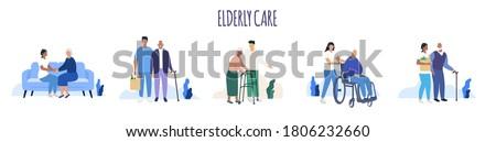 Elderly care. Old people. Aged seniors nurse care. Seniors. Vector