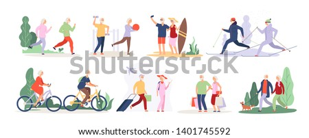 Elderly characters. Grandfather grandmother couple sport tourist tandem cute old granny elderly people outdoor vector isolated set