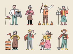 Elderly characters with various jobs. flat design style minimal vector illustration.