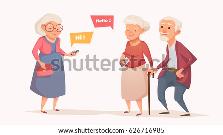 Elderly couple and an old woman in the style of a cartoon. Old people get together. Vector illustration of a flat design. Bubble for text.
