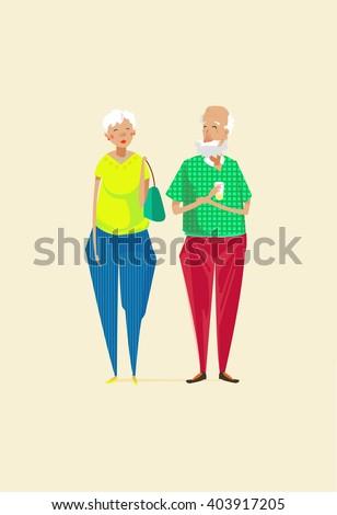 elderly couple cartoon