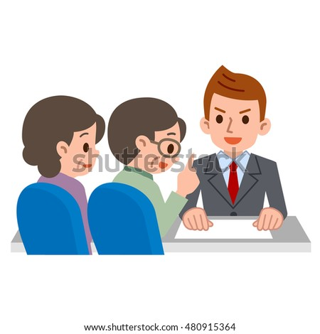 Elderly couple consult with adviser