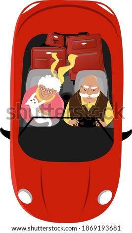 elderly couple driving a