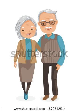 Elderly couple full body. Elderly Asian couple figure. Smiling elderly man. Elderly women standing