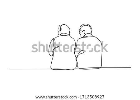Elderly couple in continuous line art drawing style. Back view of senior people sitting together and talking. Minimalist black linear sketch isolated on white background. Vector illustration