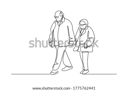 Elderly couple in continuous line art drawing style. Senior man and woman walking together holding hands. Minimalist black linear sketch isolated on white background. Vector illustration