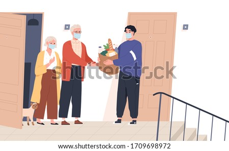 Elderly couple in face masks receiving a bag of groceries from delivery man. Volunteer taking care of senior family during virus outbreak. Shopping help. Vector illustration in flat cartoon style