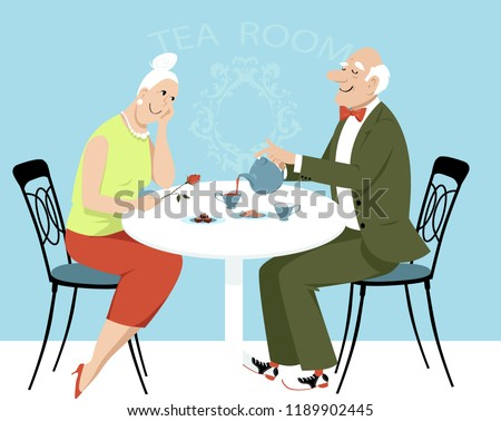 Speaking, characture older couple having coffee there other