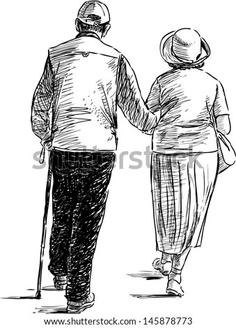 elderly couple on a walk Elderly Woman Walking Drawing