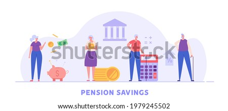 Elderly couple, pensioners are standing next to a calculator, piggy bank and coins. Concept of pension savings, insurance pension, pension  fund, investments. Vector illustration in flat design