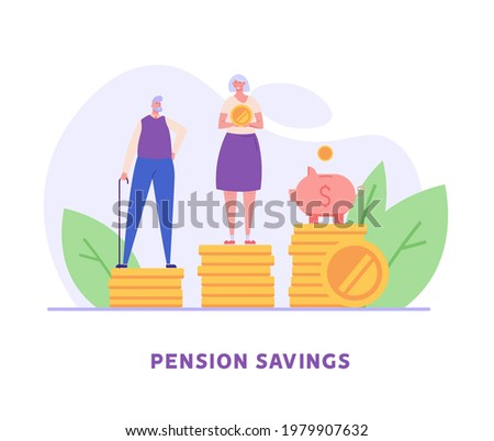 Elderly couple, pensioners are standing next to a piggy bank and coins. Concept of pension savings, insurance pension, funded pension, investments. Vector illustration in flat design