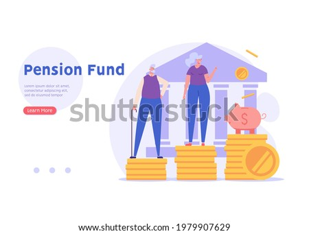 Elderly couple, pensioners are standing next to a piggy bank, bank and coins. Concept of pension savings, insurance pension, funded pension, investments. Vector illustration in flat design
