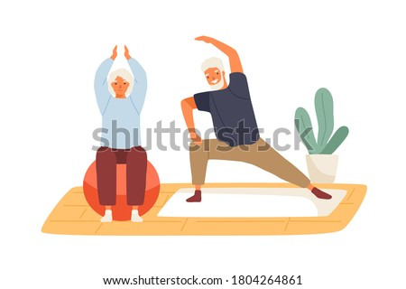 Elderly couple practicing yoga at home vector flat illustration. Active mature man and woman doing exercise on mat and aerobic ball isolated. Family enjoy sport and healthy lifestyle together