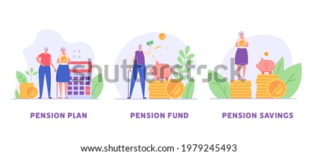 Elderly couple set. Pensioners are standing next to a calculator, piggy bank and coins. Concept of pension savings, insurance pension, pension  fund, investments. Vector illustration in flat design