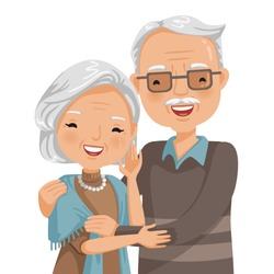 elderly couple smiling. Old woman and old man couple embrace affectionately. Feeling happy of granddaddy and grandmother retirement Age. Vector illustration isolated white background.