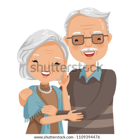 elderly couple smiling old