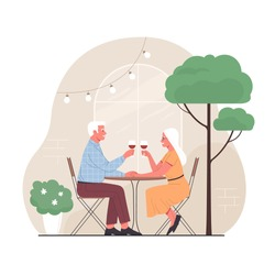 Elderly couple spends time outdoors.Vector illustration of cartoon happy senior man and woman sitting at the restaurant terrace with glasses of wine. Isolated on background