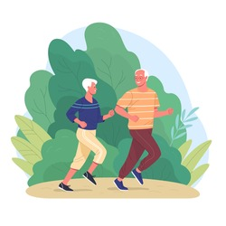Elderly couple spends time outdoors.Vector illustration of cartoon happy senior man and woman jogging  in summer park. Isolated on background