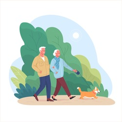 Elderly couple spends time outdoors.Vector illustration of cartoon happy senior man and woman walking in summer park with corgi dog. Isolated on background