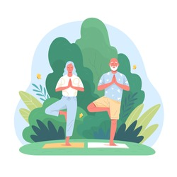 Elderly couple spends time outdoors.Vector illustration of cartoon happy senior man and woman doing yoga balance exercises  in summer park. Isolated on background