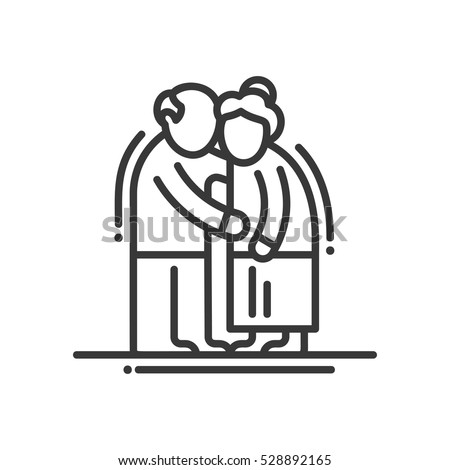 elderly couple   vector line