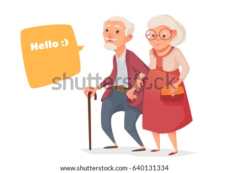 Elderly couple walk in cartoon style. Vector illustration of a flat design. Bubble for text.