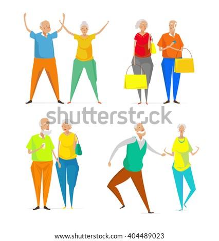 elderly couple walking  dancing