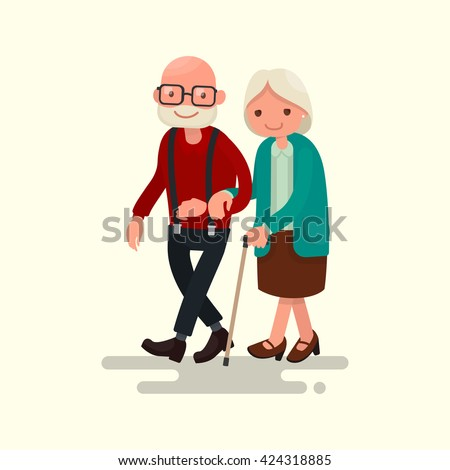elderly couple walking vector
