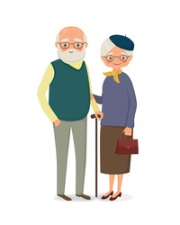 Elderly couple with glasses holding hands. Vector illustration in cartoon style