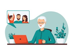 Elderly gray-haired man makes video calls to her children.Father communicates with his daughter ,son, granddaughter using a laptop.Concept old senior uses modern technology.Cartoon vector illustration