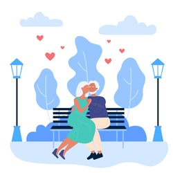 Elderly happy couple people on romantic dating in park vector illustration. Cartoon lover senior woman man in love having loving date at night, sitting on city urban park bench and hugging background