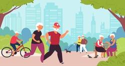 Elderly in park. Old people, senior healthy nature lifestyle. Retired family walk, cartoon grandparents summer recreation decent vector concept