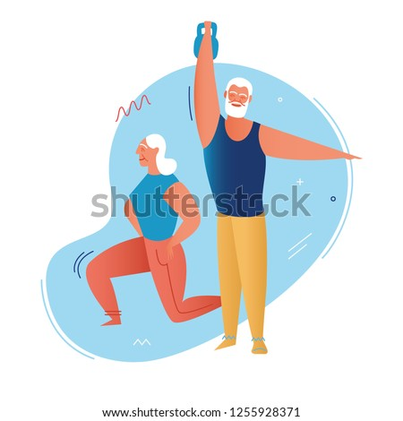 Elderly man and woman do gymnastics exercises with weight