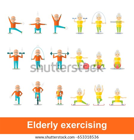 Elderly man and woman doing exercises. Healthy lifestyle, active lifestyle. Sport for grandparents. Holding hands couple.Objects isolated on a white background. Flat vector illustration.