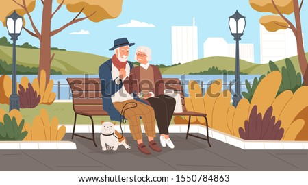 elderly man and woman have a