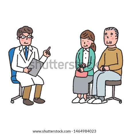 Elderly man listening to talk Doctor diagnosis diagnosis counseling illustration