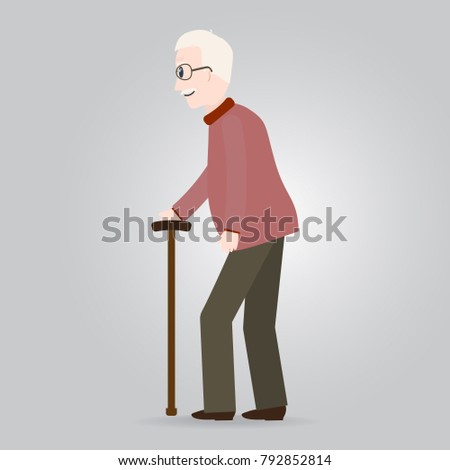 Elderly man, old people icon vector illustration