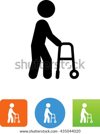 Elderly man walking with the assistance of a walker icon