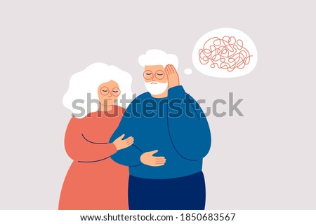 Elderly man with dementia needs help. Mature couple supports each other in the fight with amnesia and mental disorder. Memory loss concept. Vector illustration