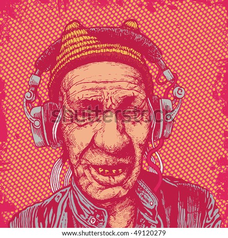 elderly man with headphones listening to music. vector illustration for CD cover